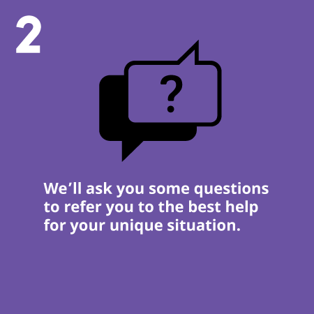 We'll ask you some questions to refer you to the best help for your unique situation.