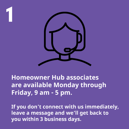 Homeowner Hub associates are available Monday through Friday 9 am - 5 pm. If you don't connect with us immediately, leave a  message and we'll get back to you.