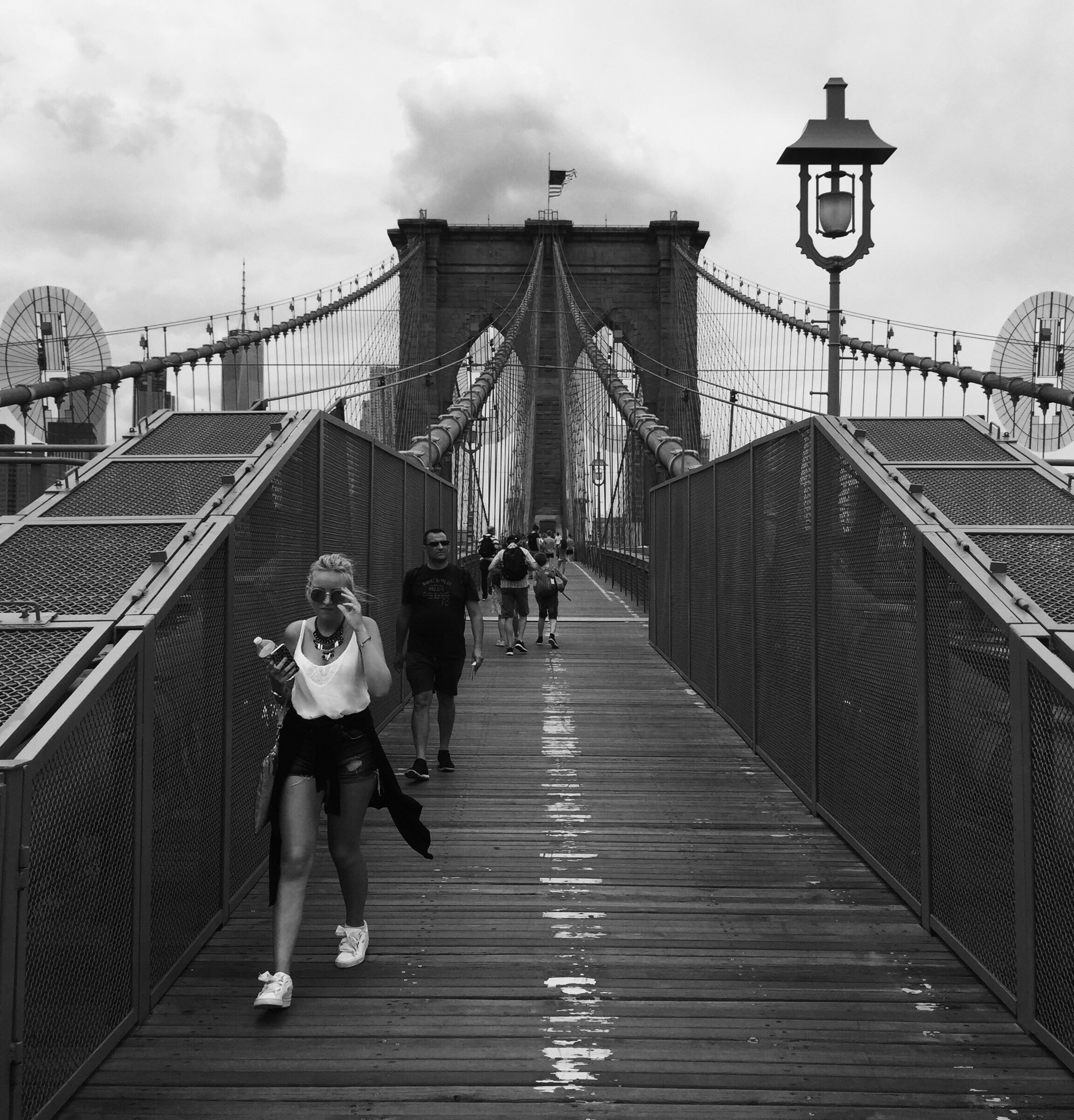 Brooklyn Bridge with Walkers