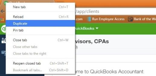 Screenshot of Chrome browser menu displaying the option to duplicate page.