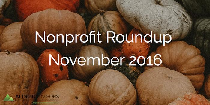 Nonprofit Roundup November 2016