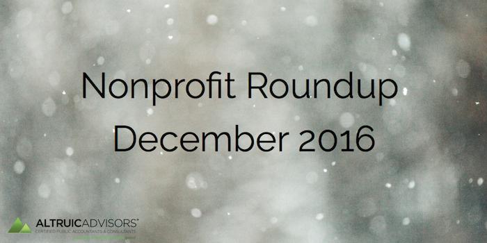 Nonprofit Roundup December 2016