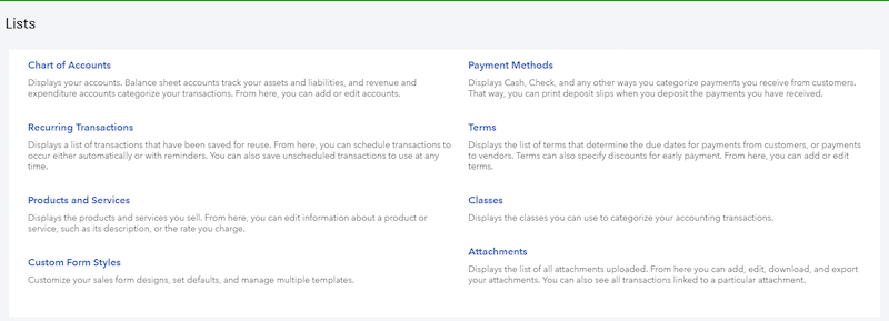 Screenshot of QuickBooks Online Lists tab.