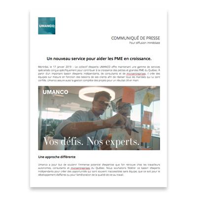 Obtenir ce fichier    Variante du communiqué de presse en format DOCX (Zip)  Lancement officiel d'Umanco le 2017-01-17.