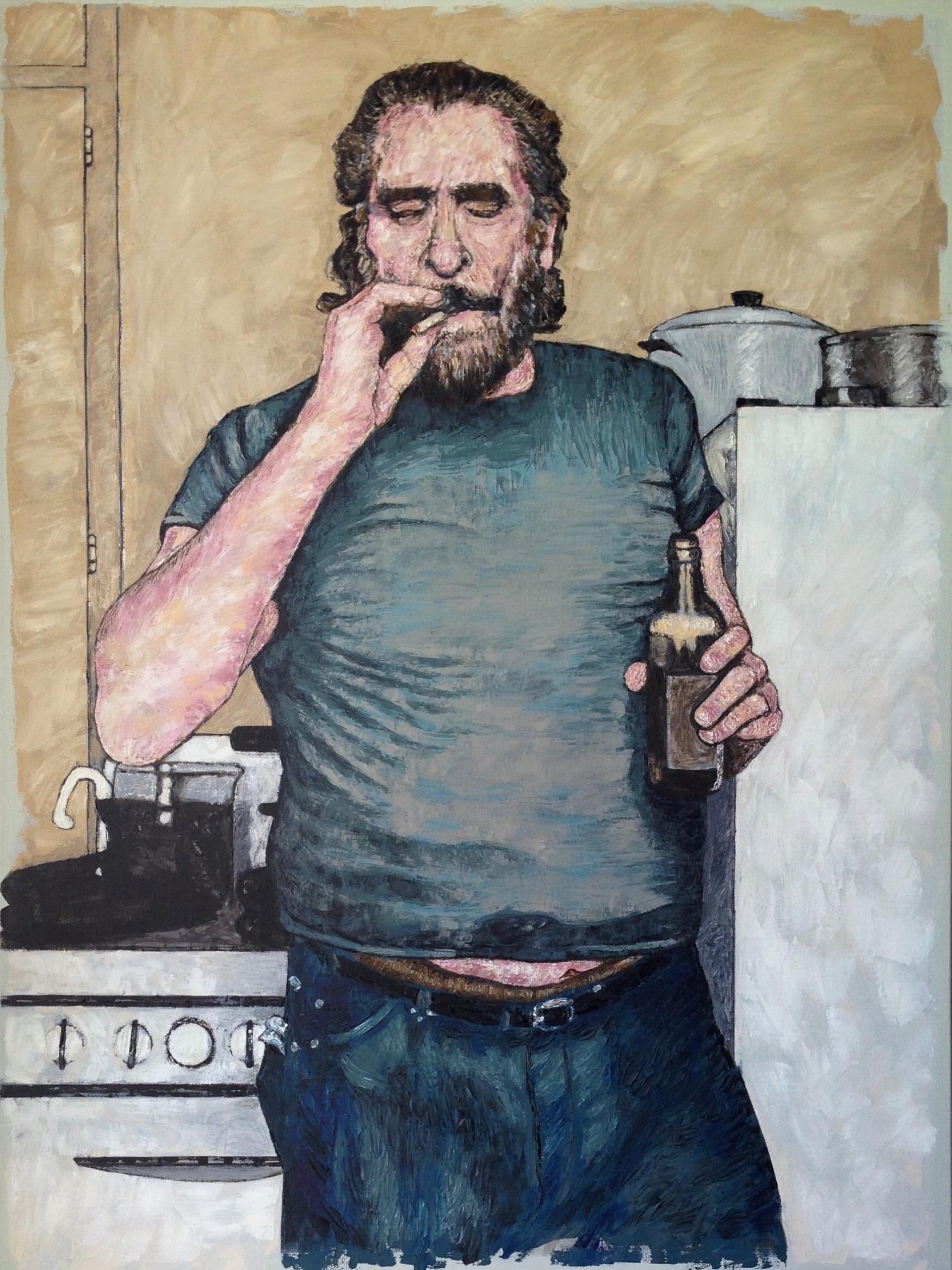 "charles bukowski 40x30"" oil on canvas"