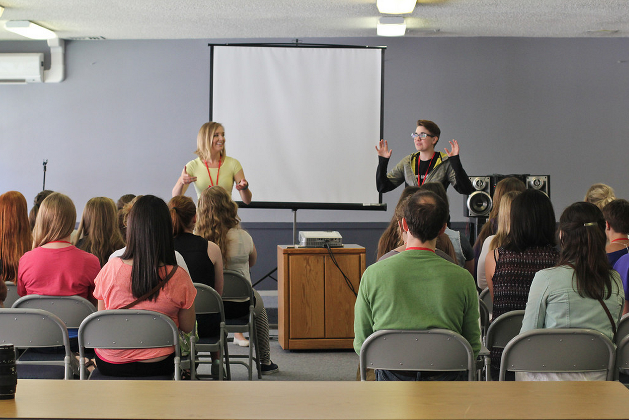 Co-leading a beatboxing workshop at  SheSings  with Courtney Jensen.