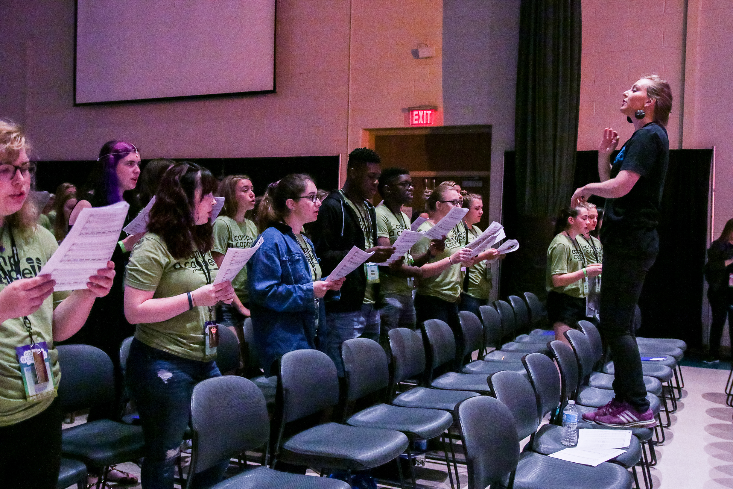 Large group rehearsal at  Camp A Cappella .