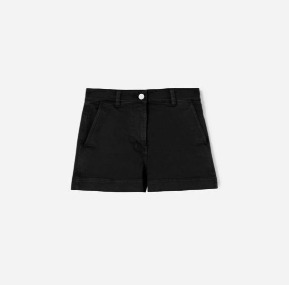 The cotton twill short $48 - I love the cotton twill short because unlike virtually all shorts, they're actually comfortable to sit in. They're made of the same material as the wide leg crop and as with the crop, I recommend sizing down two sizes. They have deep front and back pockets. They can be rolled up or down depending on how short you like to wear them. (In the first picture, I am wearing the white cotton twill shorts)