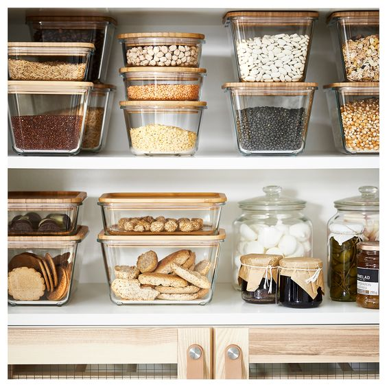 We should all endeavour to have a waste free pantry eventually, but financially it can be a hard swap. I strongly believe in buying second hand or local and independent business. With holiday season however, it can be stressful. Ikea does a glass and bamboo range that is uniform and well priced.