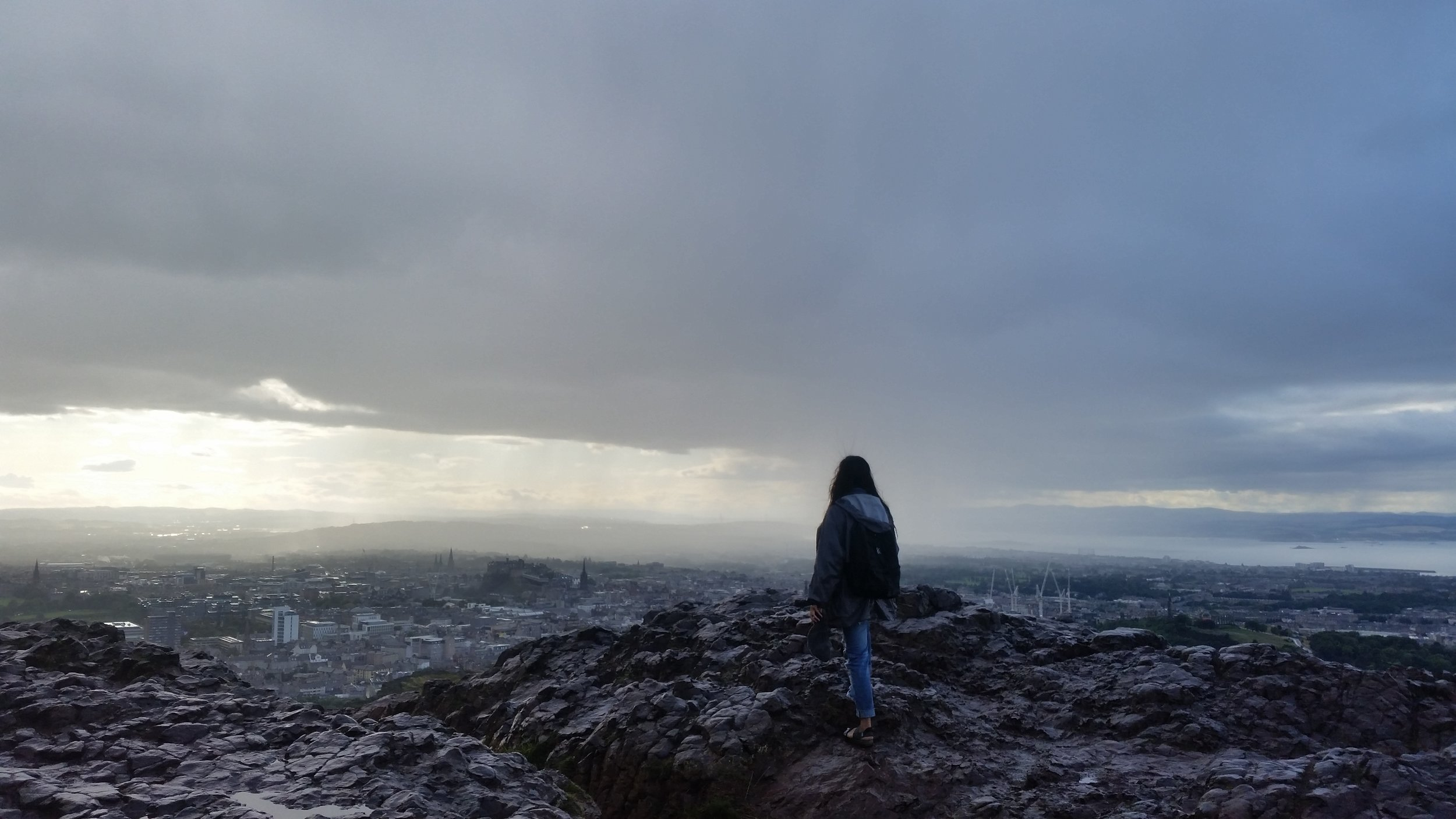 Facing the edge of the Earth (okay so it was Arthurs Seat in Edinburgh.. but close enough)