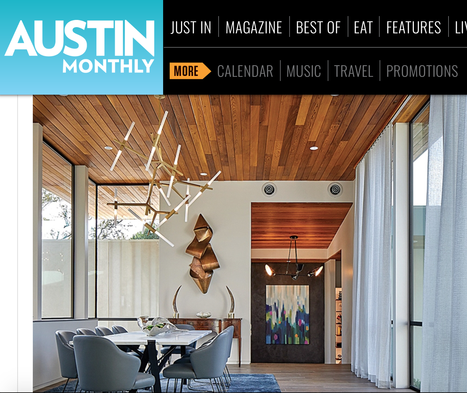 New Feature in Austin Monthly! - Interior design firm, Gingerwood Design, transformed this cool and contemporary home into a warm and inviting space. Mounted on a black concrete wall, this commissioned piece greets guests as they enter this beautiful Austin home, (pictured left). Read the article here!