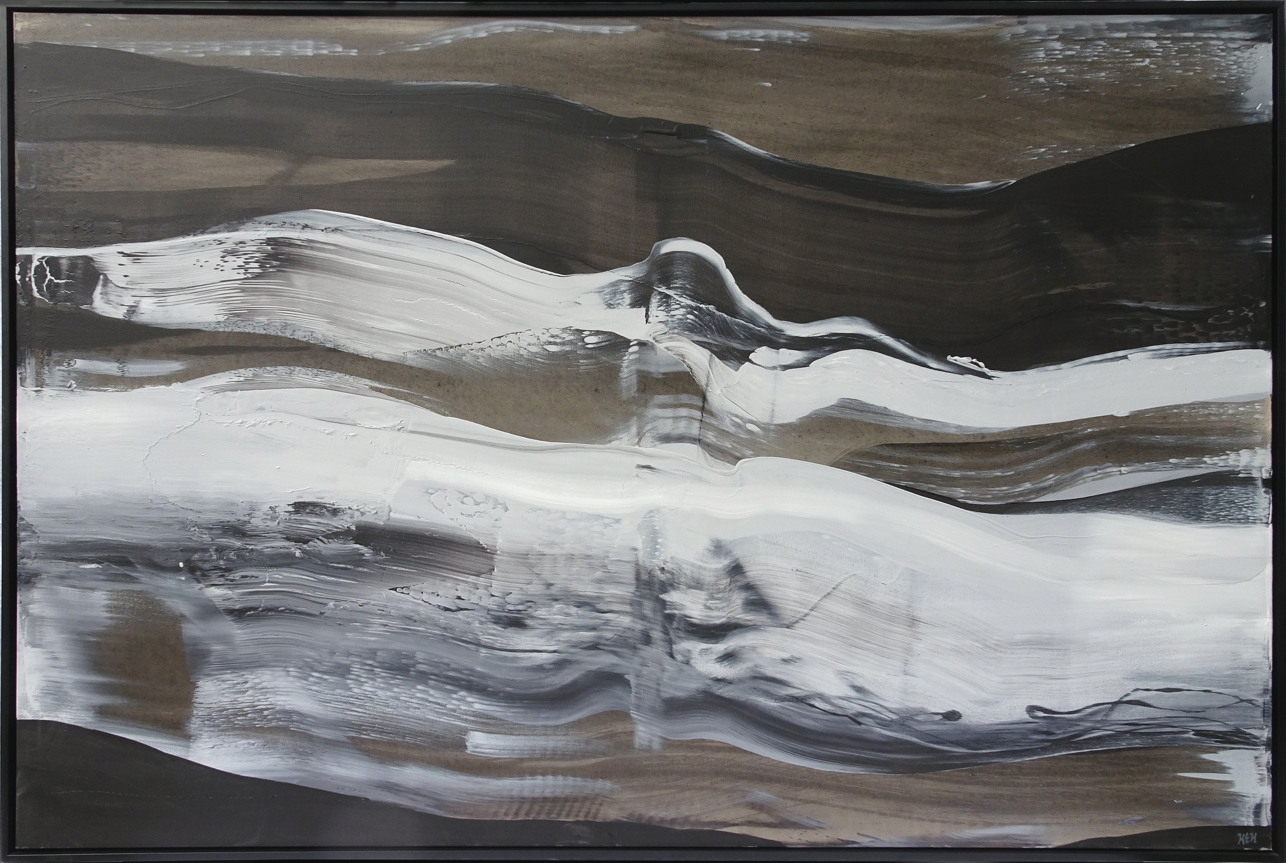 """""""Energy Five"""", 48 in x 72 in, Acrylic on Canvas, Framed in Black Floater Frame, 2018."""
