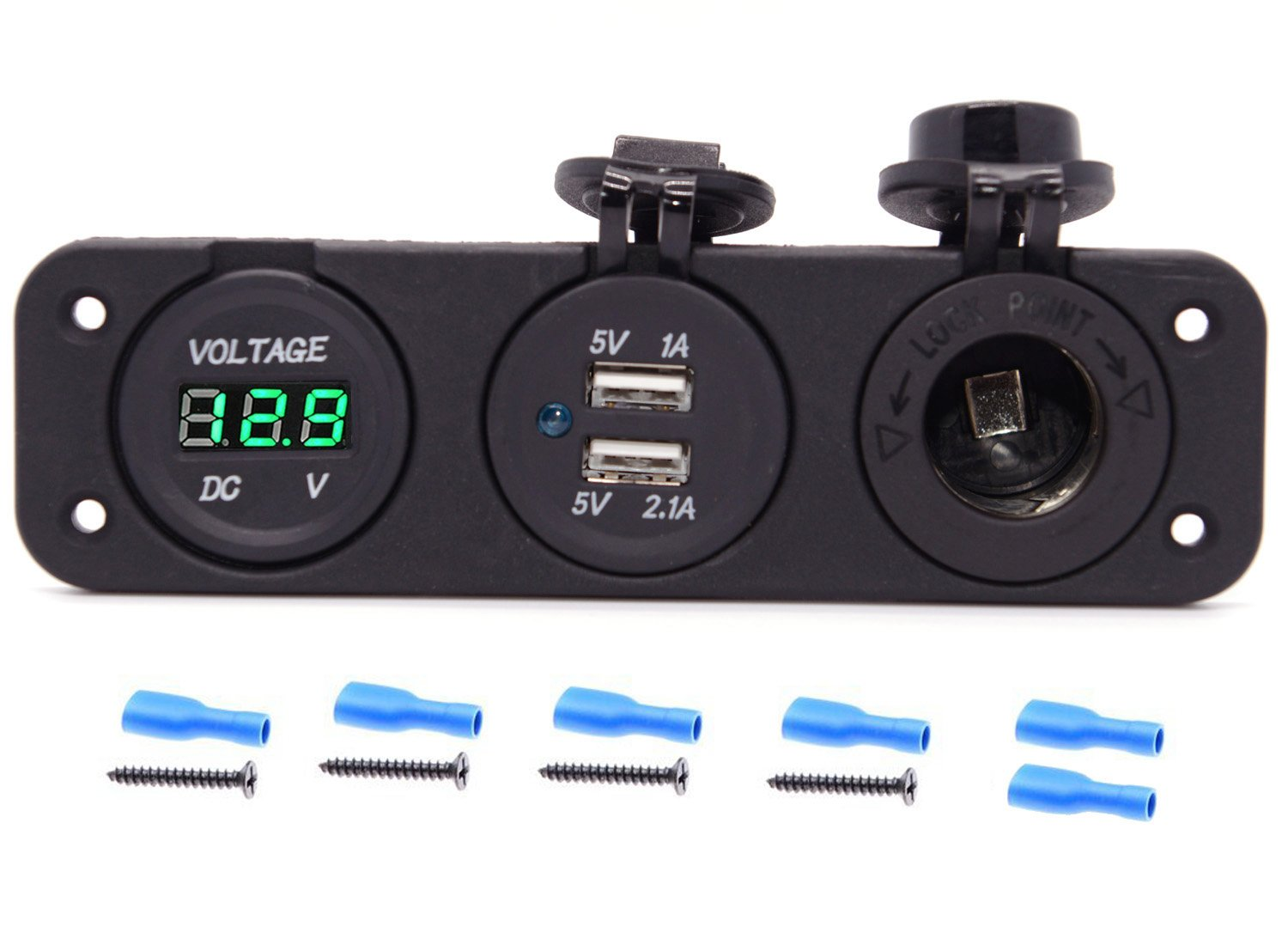 12 volt charger and voltmeter all in one convenient package.