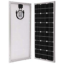 100W rigid solar panel. Rigid panels are more efficient and cheaper but eliminate the stealth factor.