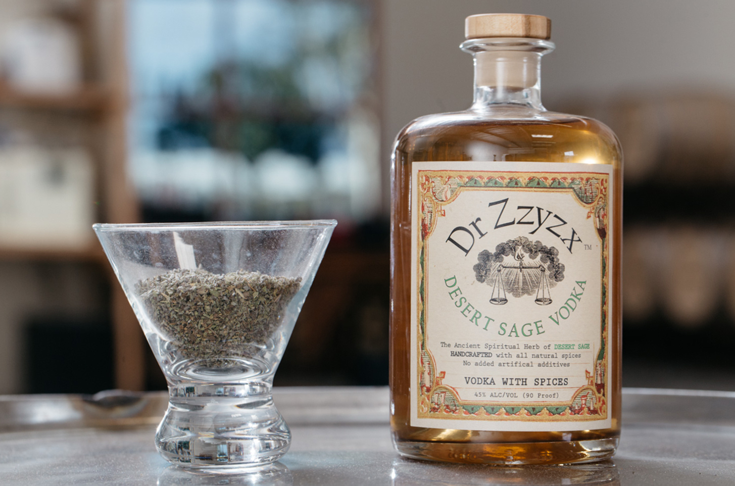 DESERT SAGE - The great outdoors in a bottle. Our Desert Sage vodka captures the fresh, invigorating breeze of sage-filled desert air. Infused with a blend of mediterranean & white sage.100% corn, gluten free & all-natural. NO ADDITIVES.