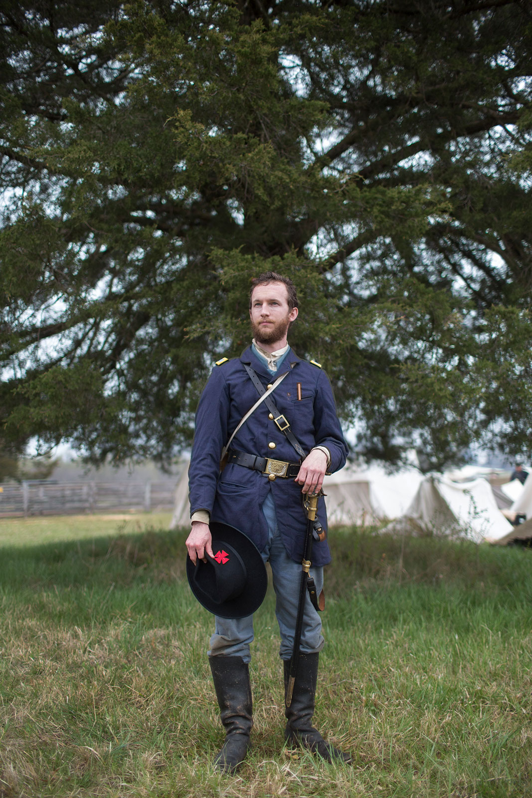 Tyler, a Union reenactor from Delaware participates in events at Appomattox Court House, Virginia.