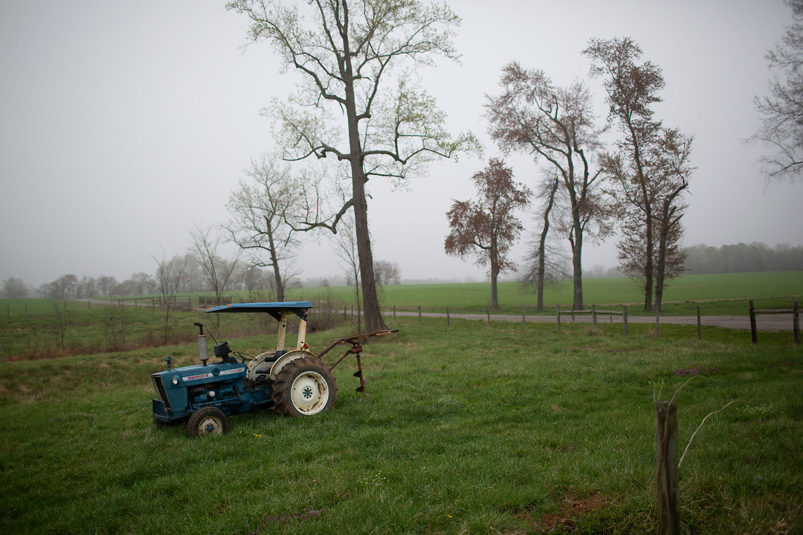 A tractor sits in a Virginia field that boarders the retreat route General Robert E. Lee followed in 1865.
