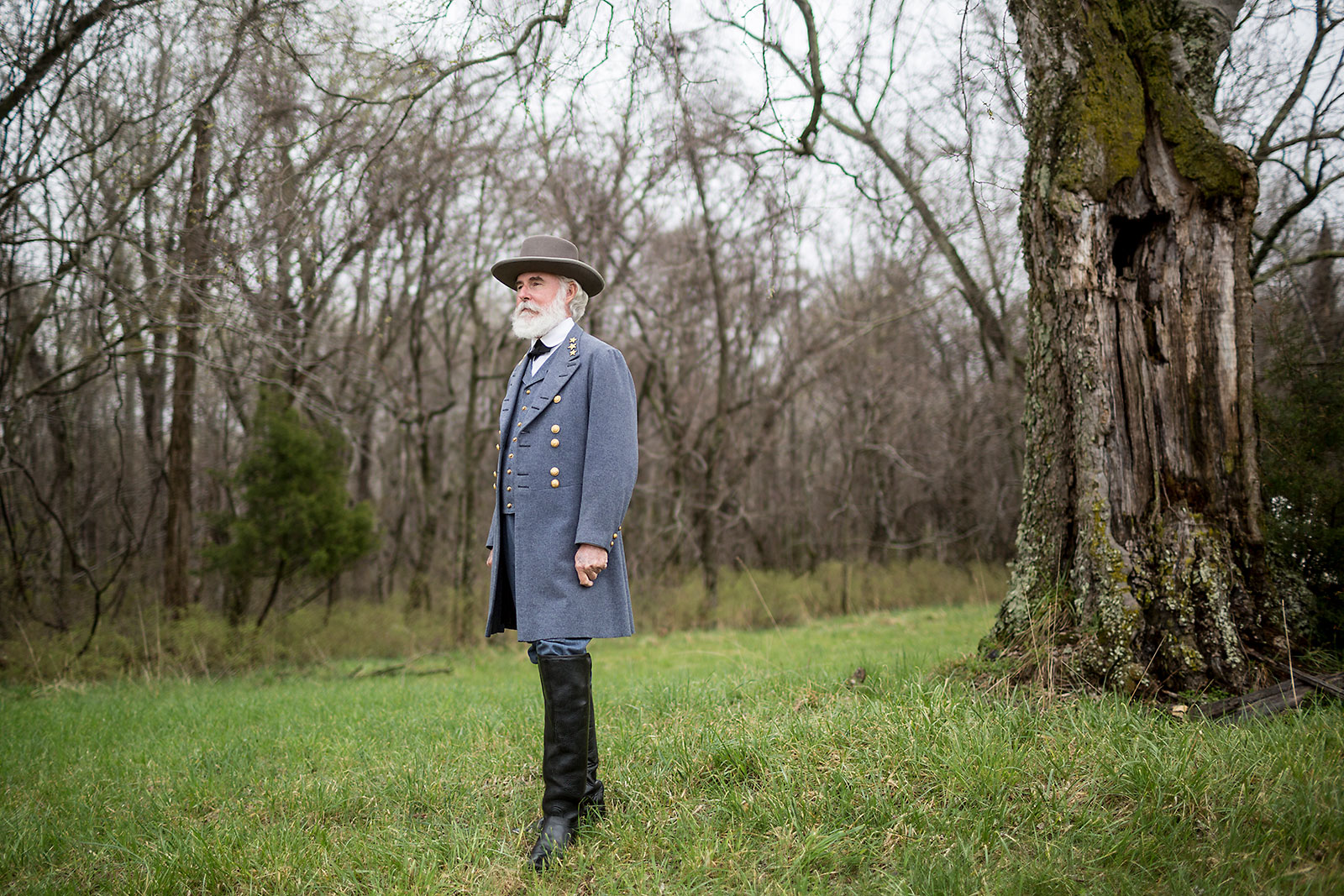 Thomas Jessee, portrays Confederate General Robert E. Lee during sesquicentennial at Appomattox.