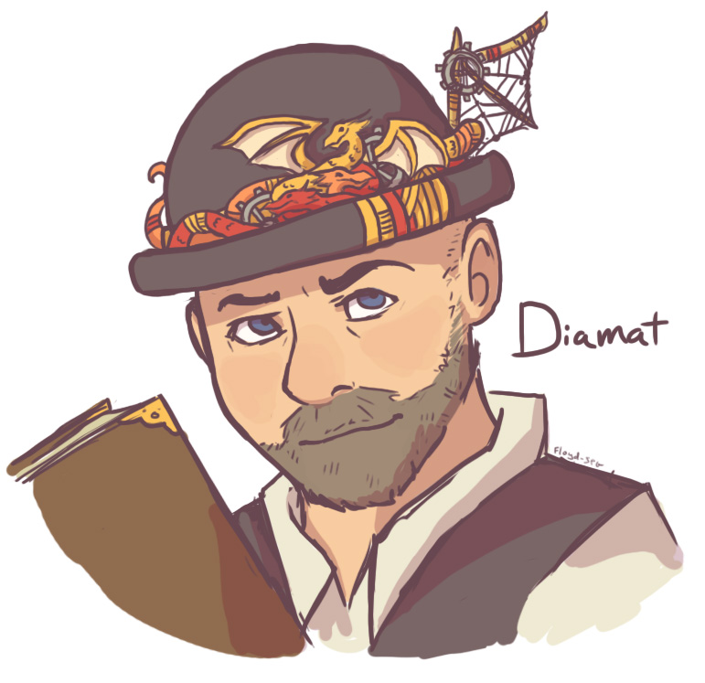 I am Diamat - I have a hat with goggles on it that I look at when I miss my friends...don't ask. I am consistently trying to kill everyone, much to no avail, even when they hug Bladenados...again, don't ask. Anyway, I've played TTRPGS for almost 20 years. Podcasts are fun. Bye.