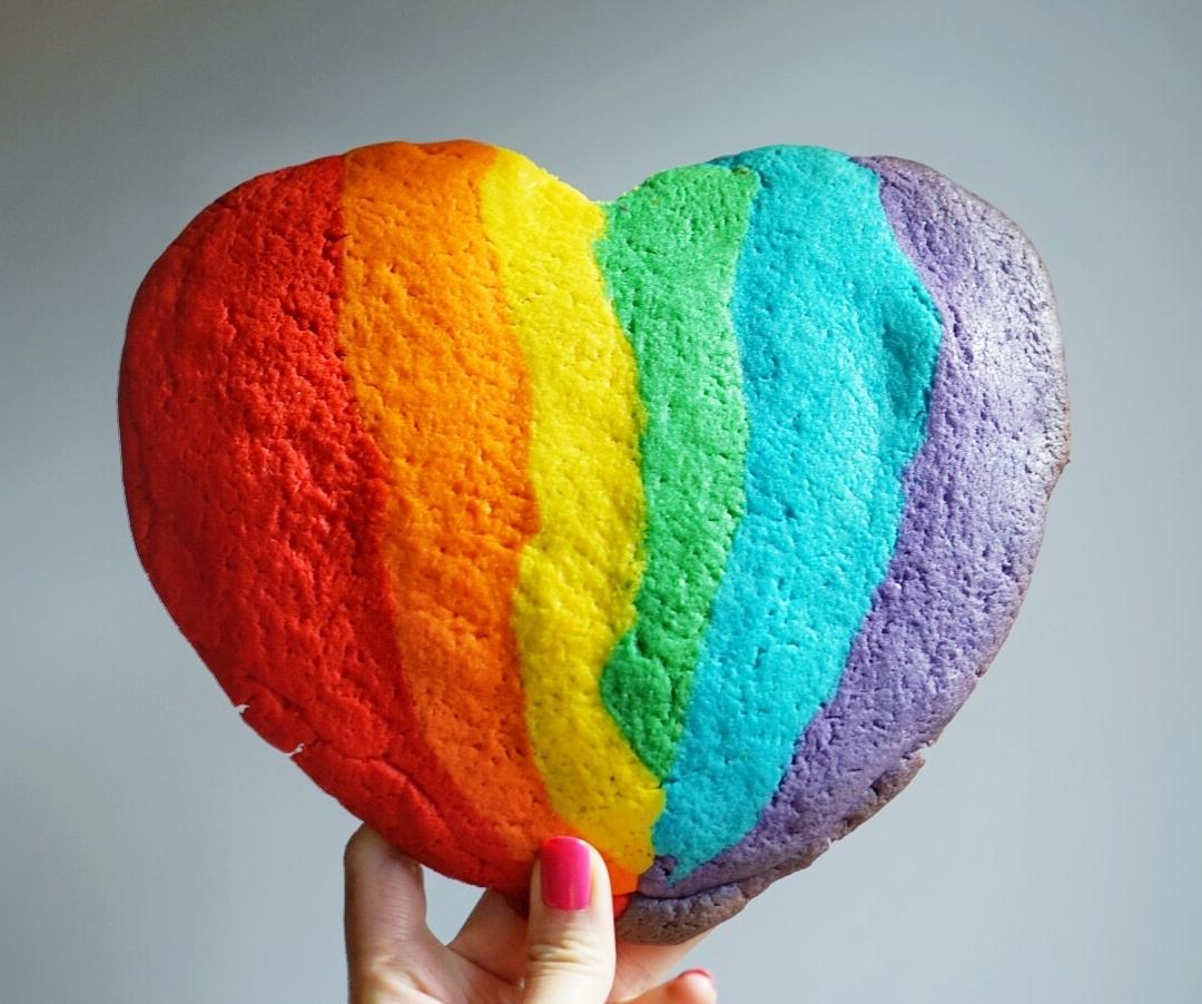 Heart Rainbow Sugar Cookie stuffed with Nutella