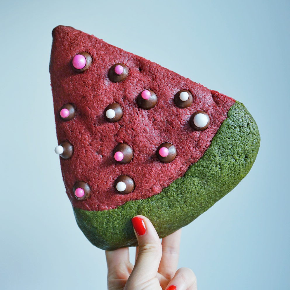 Watermelon Pink Velvet Cookie stuffed with Nutella