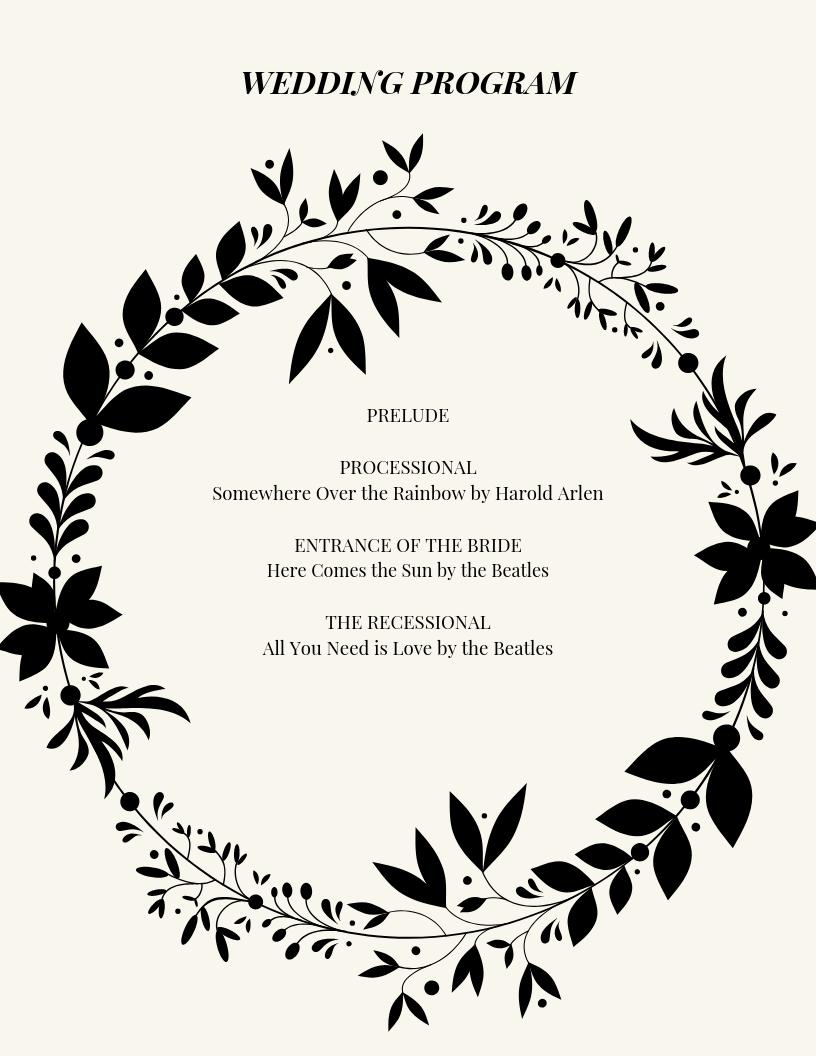 Sentimental Sample Wedding Program