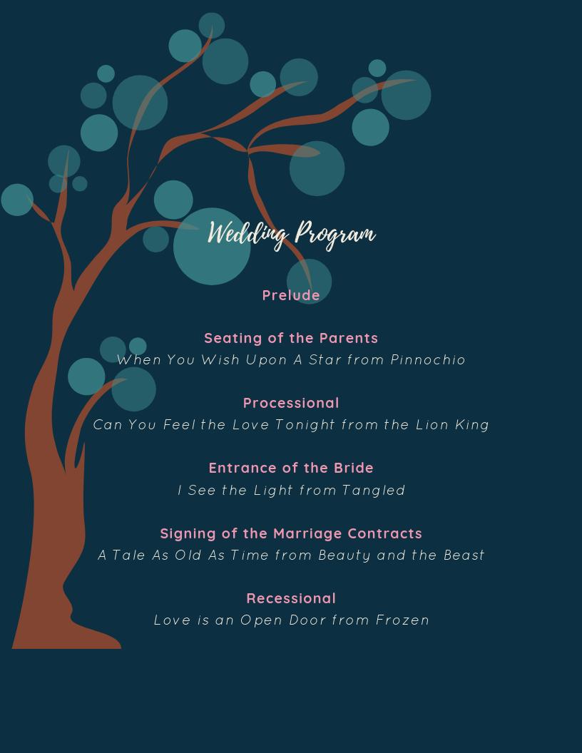 Disney Sample Wedding Program