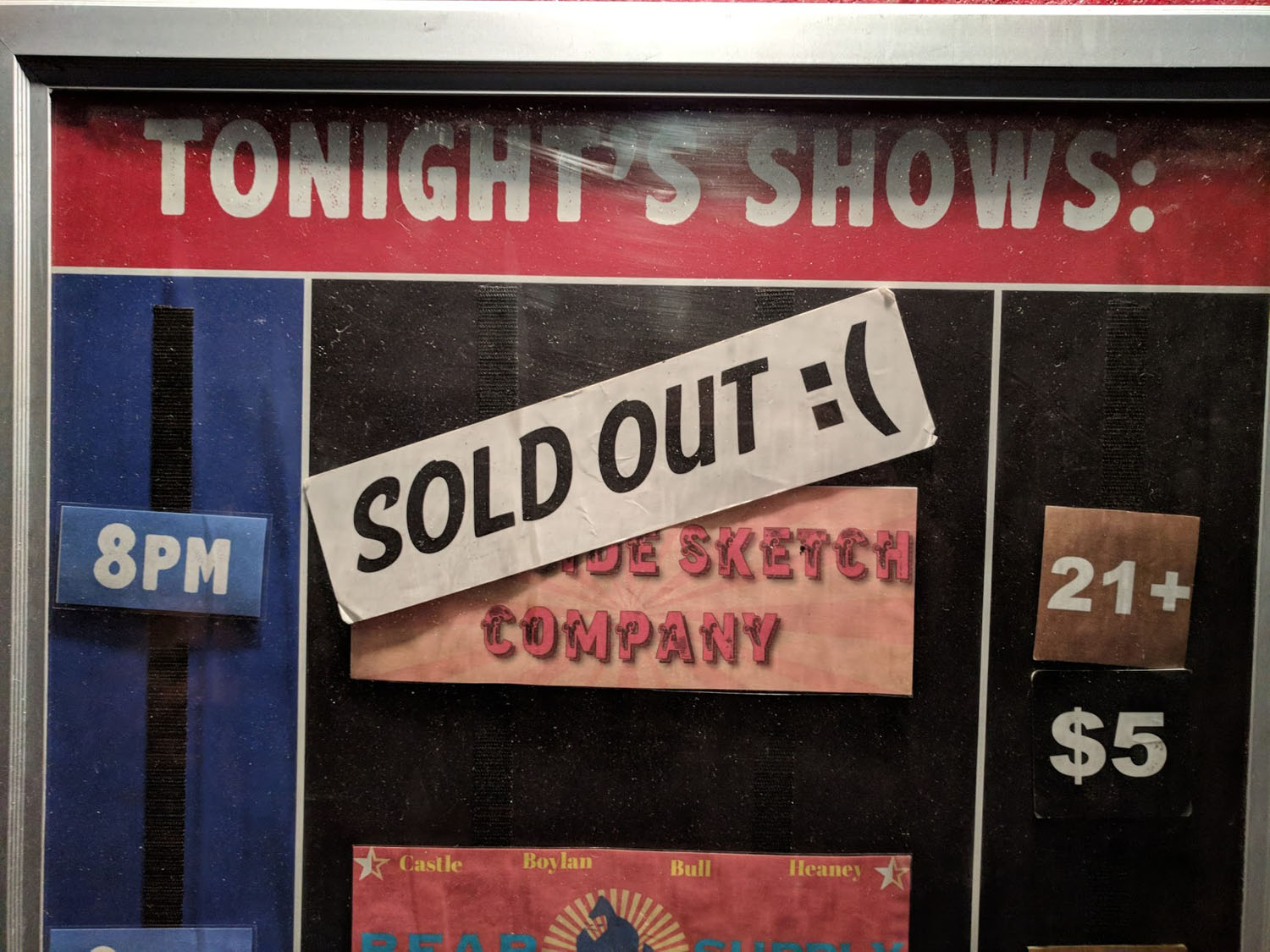 The Westside Comedy Theater's Marquee and our sold-out show!