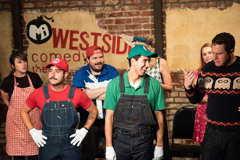 """Super Mario Family Dinner"" Mario (Greg Santos) & Luigi (Andrew Heder) and the family (Alisha Ketry, Max Crandall, Carrie Long, Alonya Eisenberg and Sam Mark)"