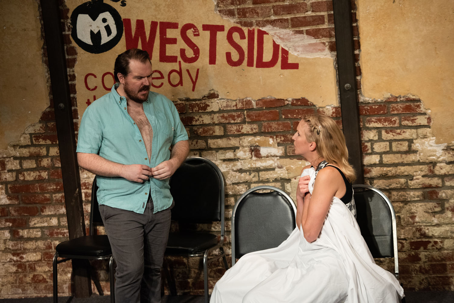 """Travis (Max Crandall) and Jean (Carrie Long) in """"Food Cheater"""""""