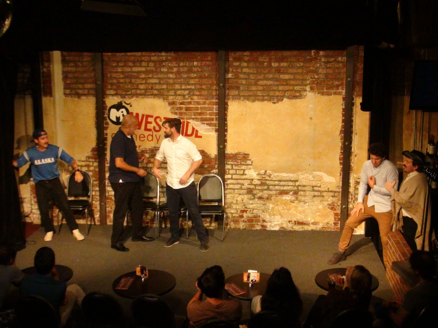 """Cyrano (Max Crandall) helps a nerd (Andrew Heder) get in with the jocks (Greg Santos, Atul Singh and Patrick Tamisiea) in """"Cyrano DeBallsack"""""""