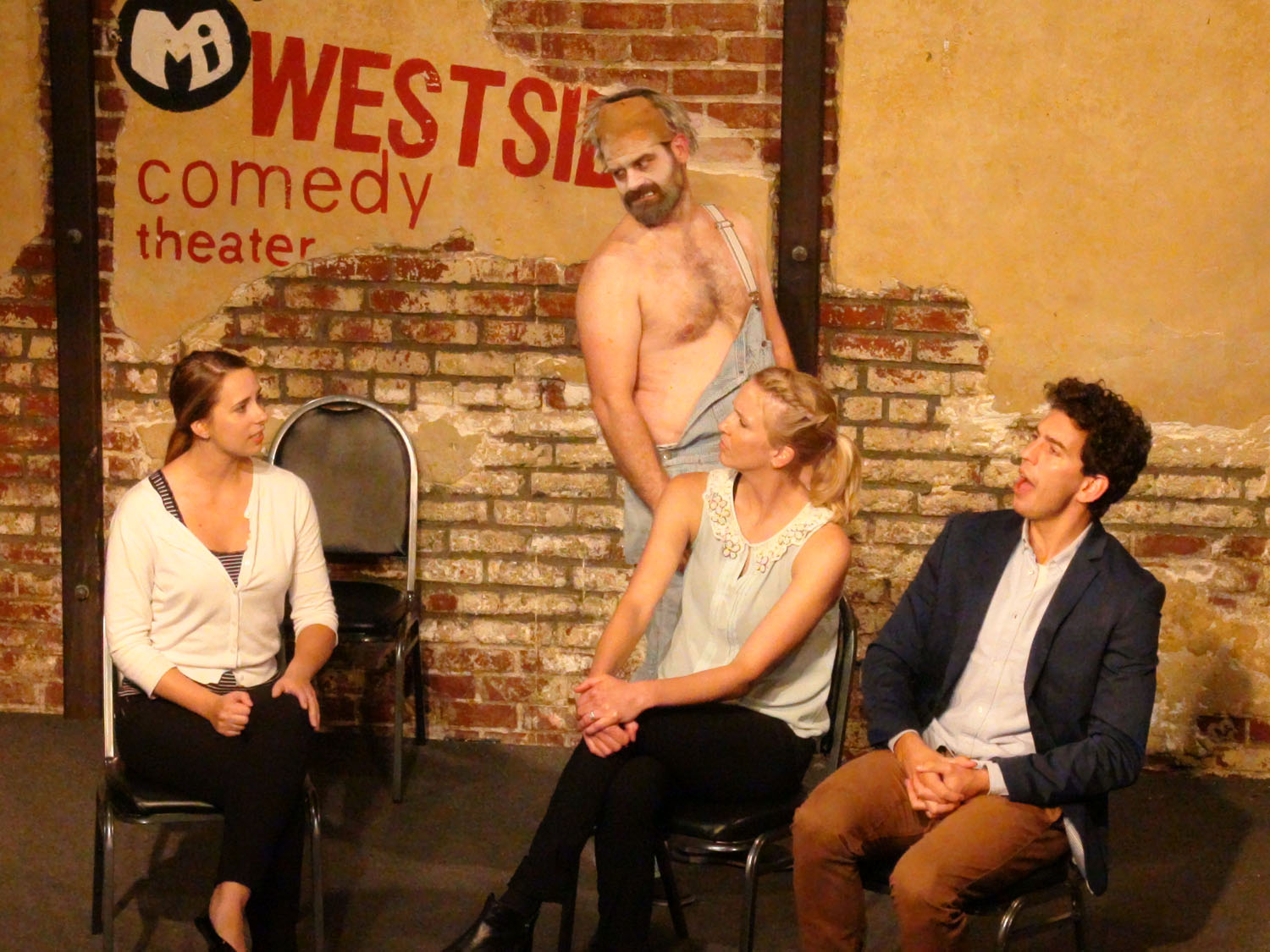 """The ghost (Patrick Tamisiea) appears on a talk show with Alonya Eisenberg, Carrie Long and Andrew Heder in """"Dating a Ghost"""""""