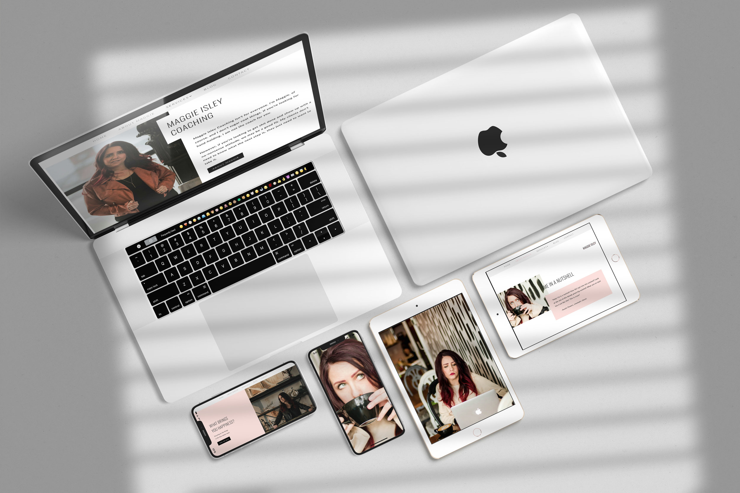 Client, Maggie Isley, designed her own website with the help of Tall Hair Creative photography - maggieisleycoaching.com