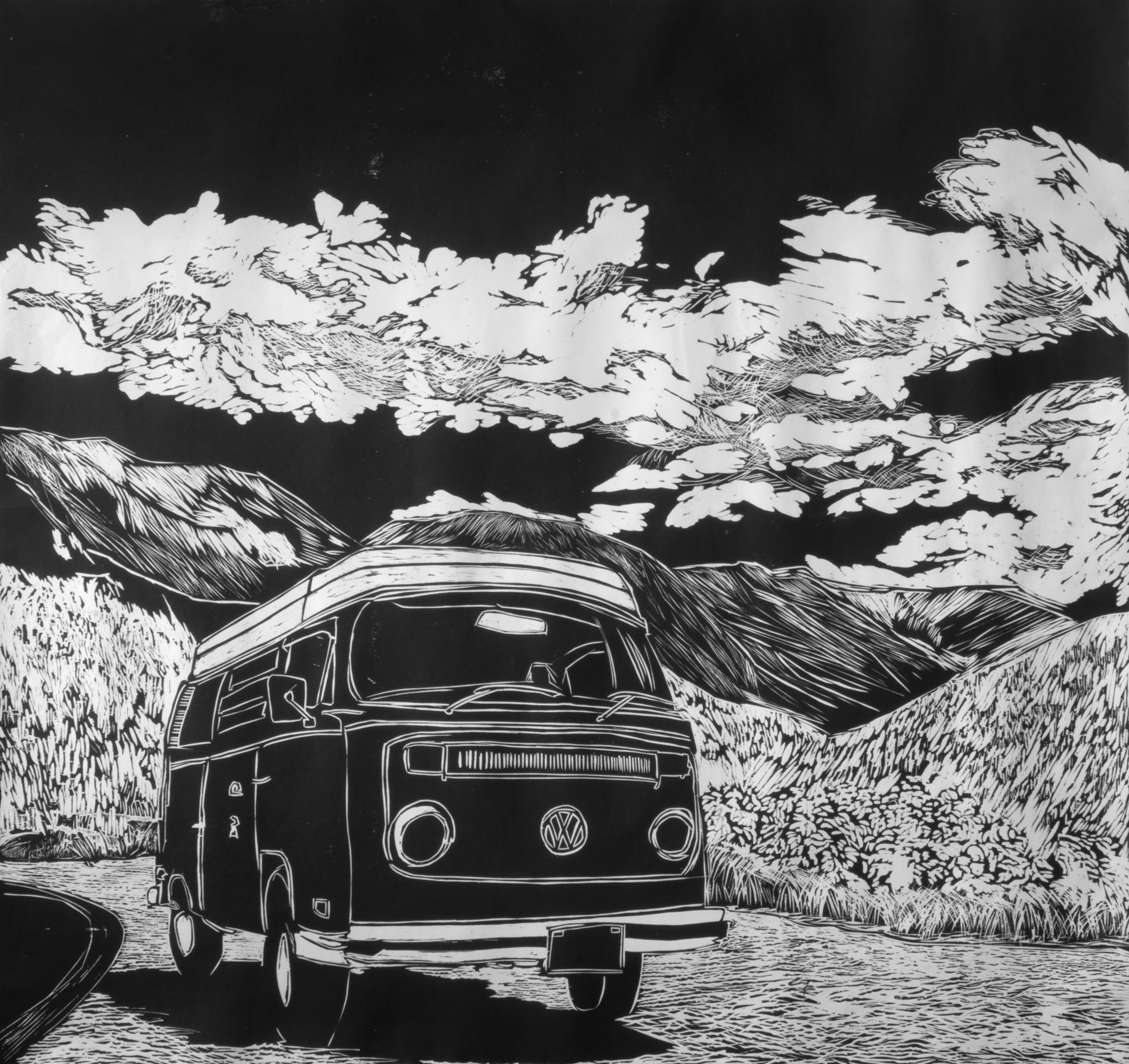 MCCLURE PASS (LEFT)   ARTIST: Sirima Sataman MEDIUM: Woodcut – Ink on Japanese paper DIMENSIONS: 46 in x 48 in | 116,84 cm x 121,92 cm EDITION: 6 PRICE: $2500 unframed (only 1 left) | $5500 framed (upon request)