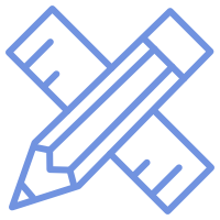 A blue pencil and ruler icon.