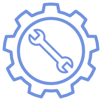 An icon of a blue gear wheel with a blue wrench inside it.