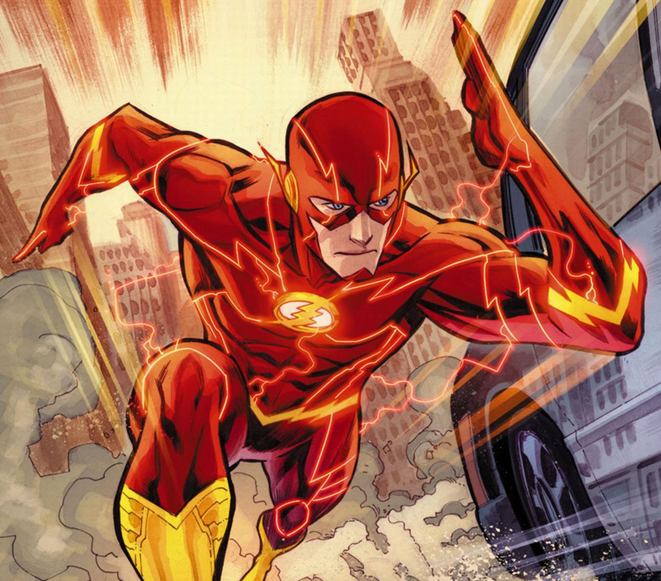 A comic book image of Barry Allen as The Flash running down a street.