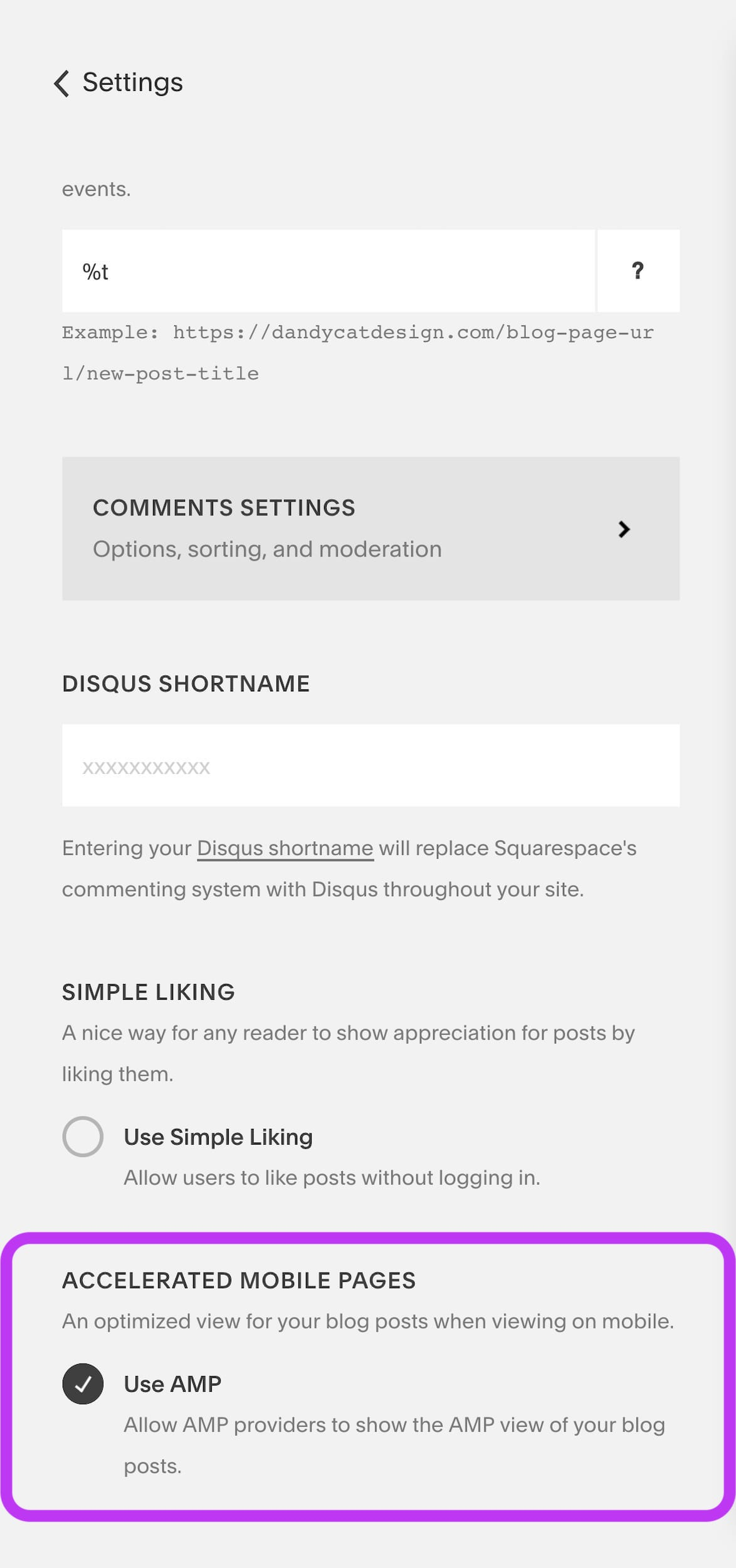 An image displaying how to turn on Google AMP for Squarespace blog posts.