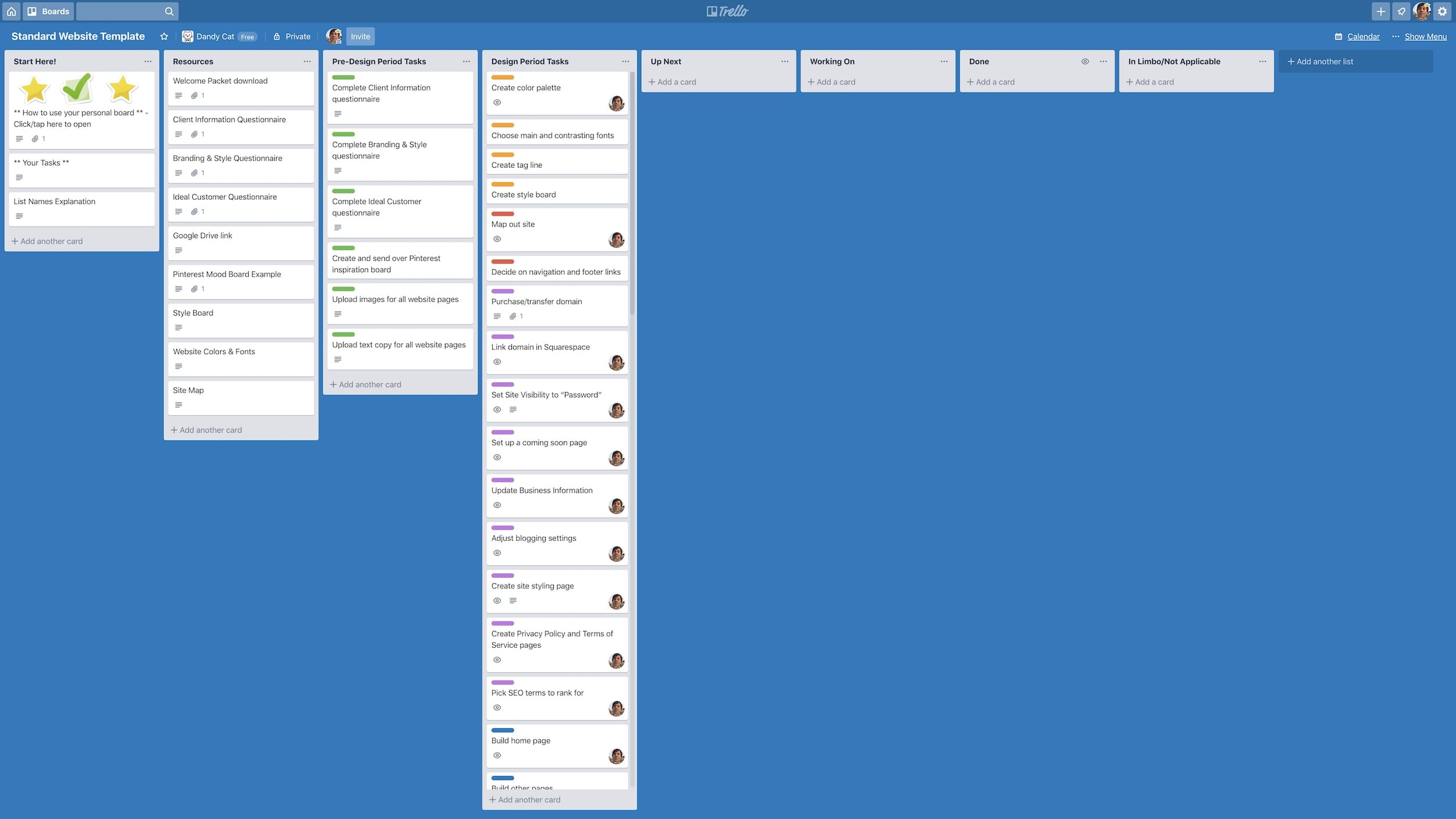 An image of a standard website project board created using the project management app called Trello.