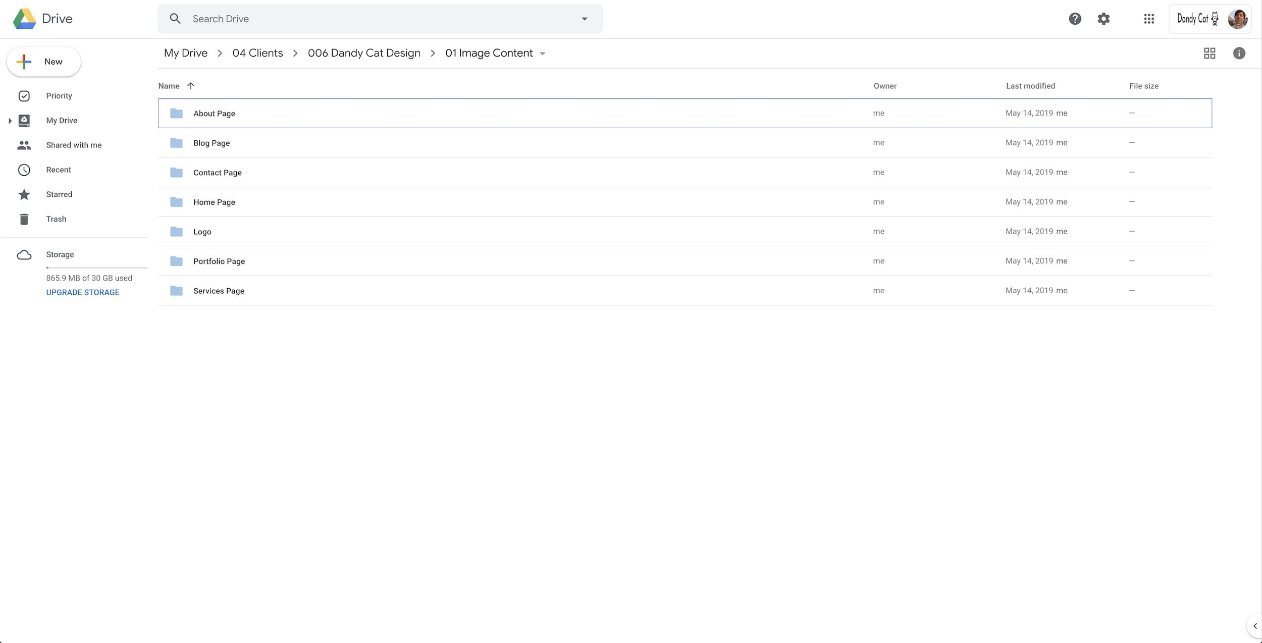 An image of a shared Google Drive folder featuring several folders that will all hold images for the pages of a website.