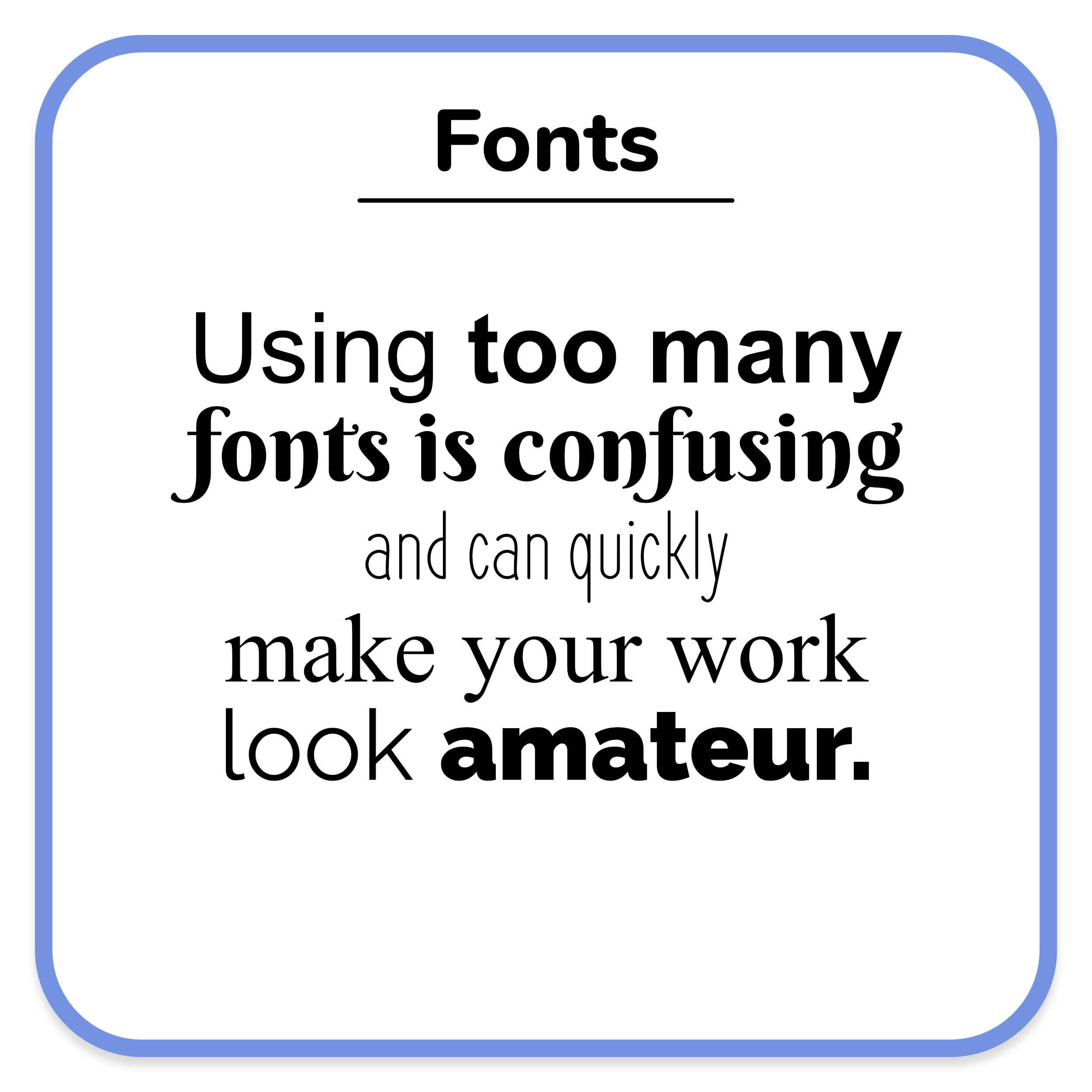An text example of using too many fonts and font weights.
