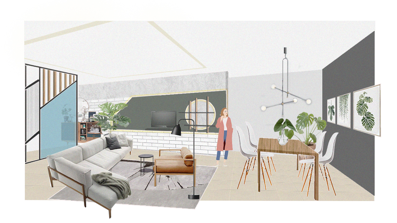 Scandinavian Living & Dining Room