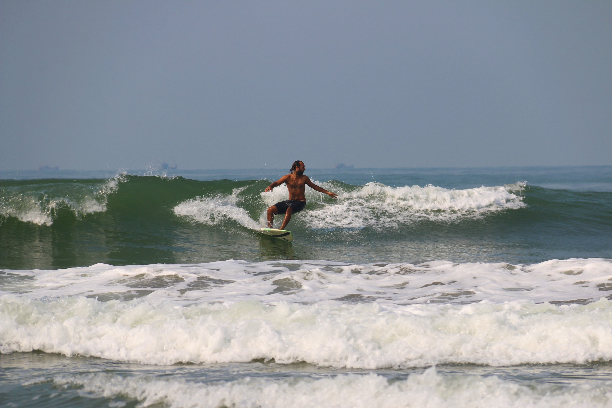 Surfing in Goa.