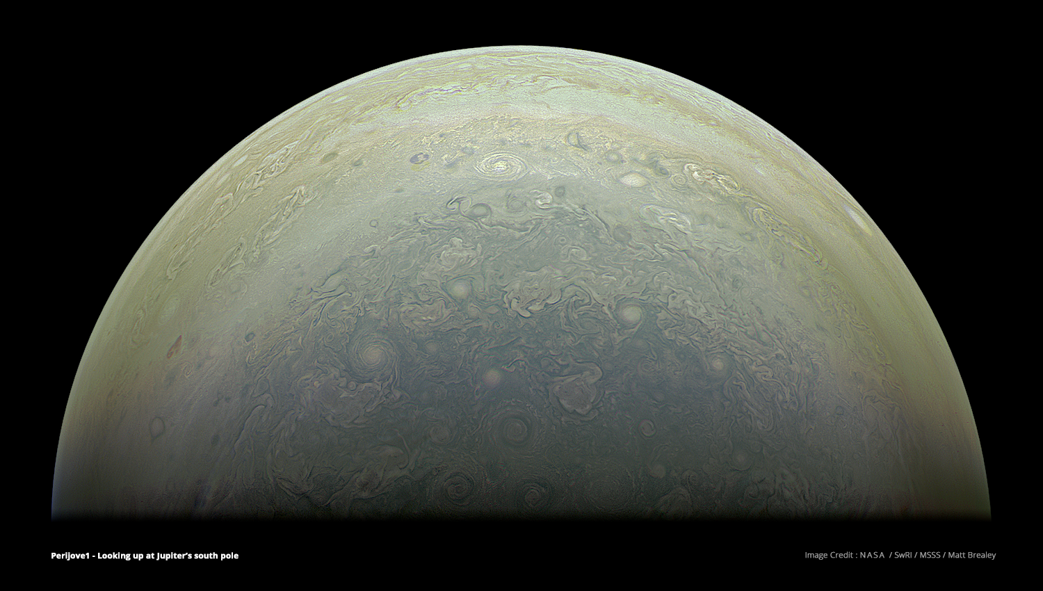 Jupiter's south pole, constructed from raw images using common Visual Effects techniques and The Foundry's Nuke compositing software. Image Credit : NASA, SwRI, MSSS & Matt Brealey.