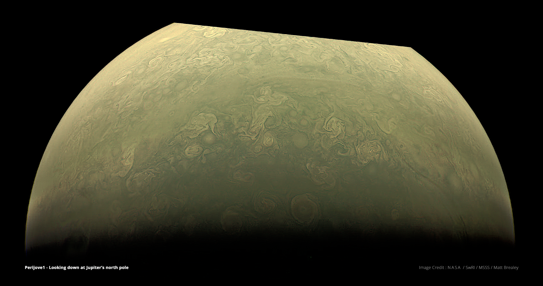 Jupiter's north pole, constructed from raw images using common Visual Effects techniques and The Foundry's Nuke compositing software. Visible compression artefacts are present in the raw data and not introduced through processing. Image Credit : NASA, SwRI, MSSS & Matt Brealey.