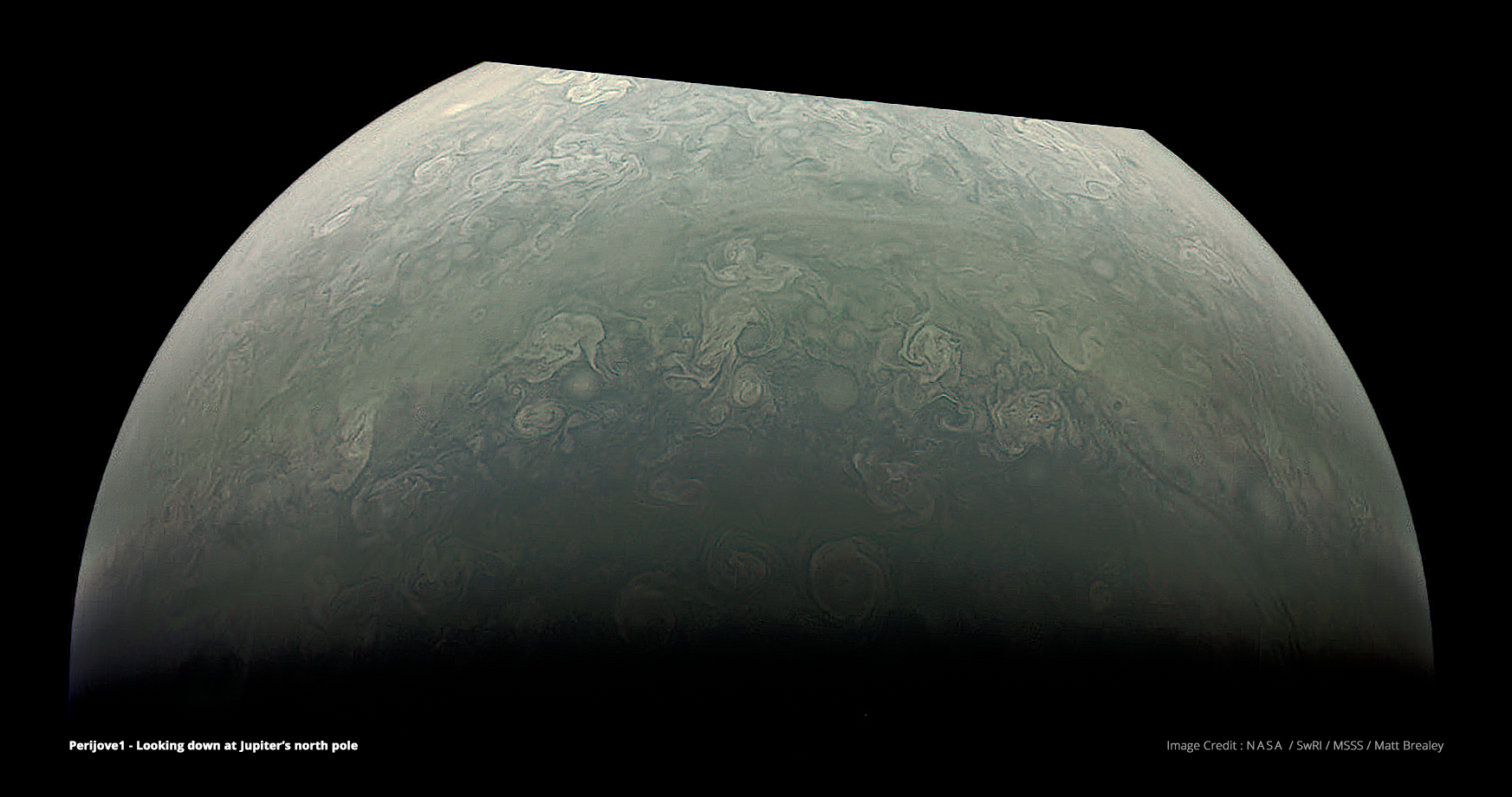 Jupiter's north pole, constructed from raw images using common Visual Effects techniques and The Foundry's Nuke compositing software. Visible compression artefacts are present in the raw data and not introduced through processing. The top section was not captured in the raw image and is therefore missing. Image Credit : NASA, SwRI, MSSS & Matt Brealey.