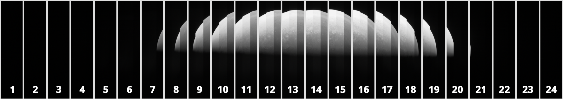 The raw image is constructed of 24 consecutively captured frames, outlined here. Image data featuring Jupiter is contained within frames 6-21. Raw Image Credit : NASA, SwRI, MSSS & Matt Brealey