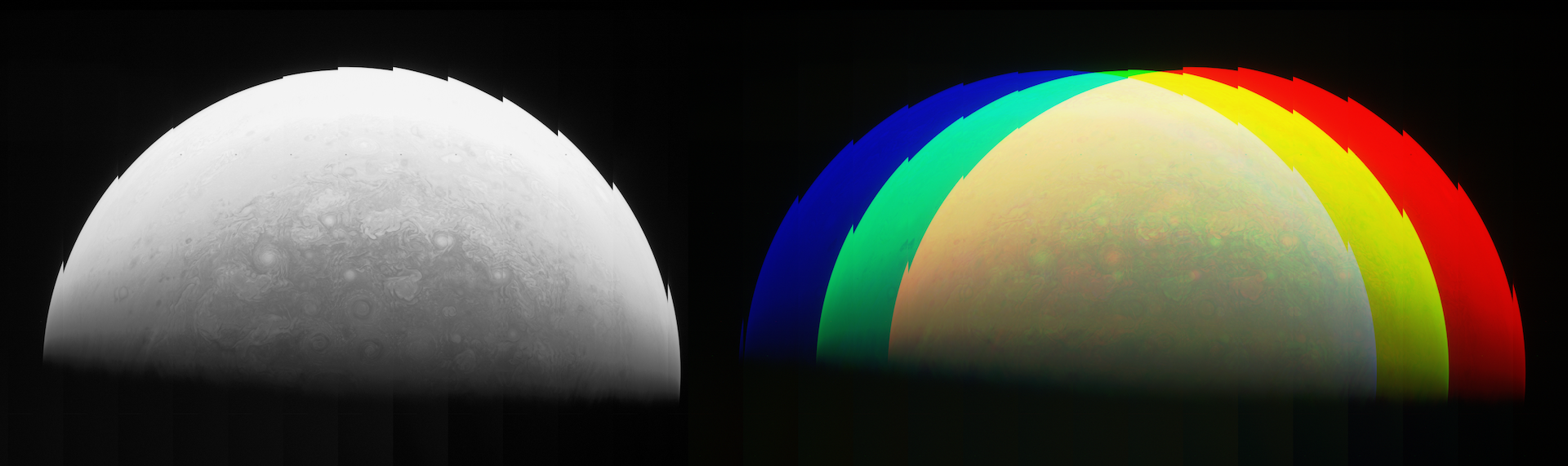 On the left, combining each of the red framelets results in a full but unaligned view of red-filtered Jupiter. On the right, combined but unaligned red, green and blue framelet images are layered on top of each other and coloured appropriately. Image Credit : NASA, SwRI, MSSS & Matt Brealey