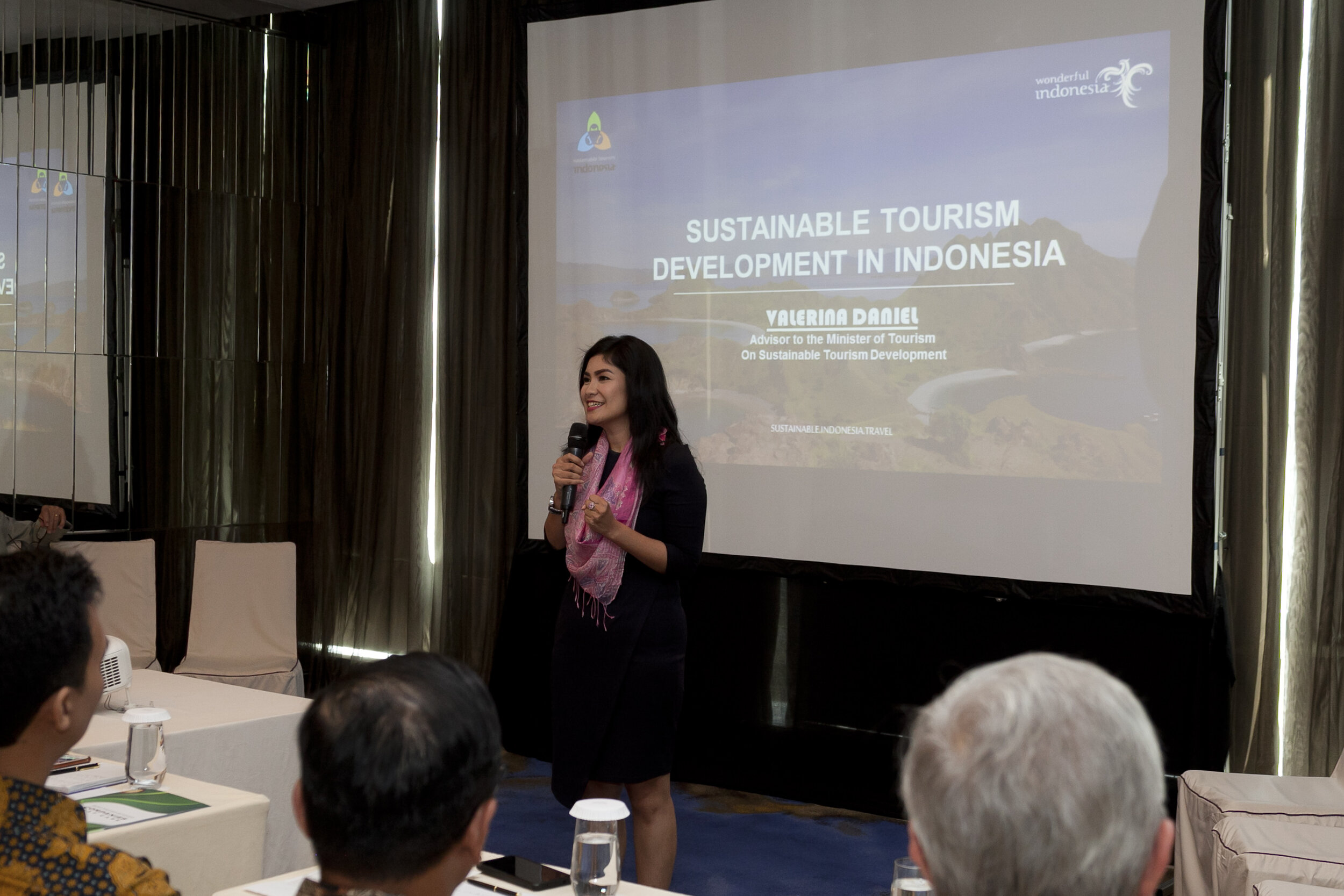 Ms. Valerina Daniel on sustainable tourism development in Indonesia ( photo courtesy: MVB documentation team ).
