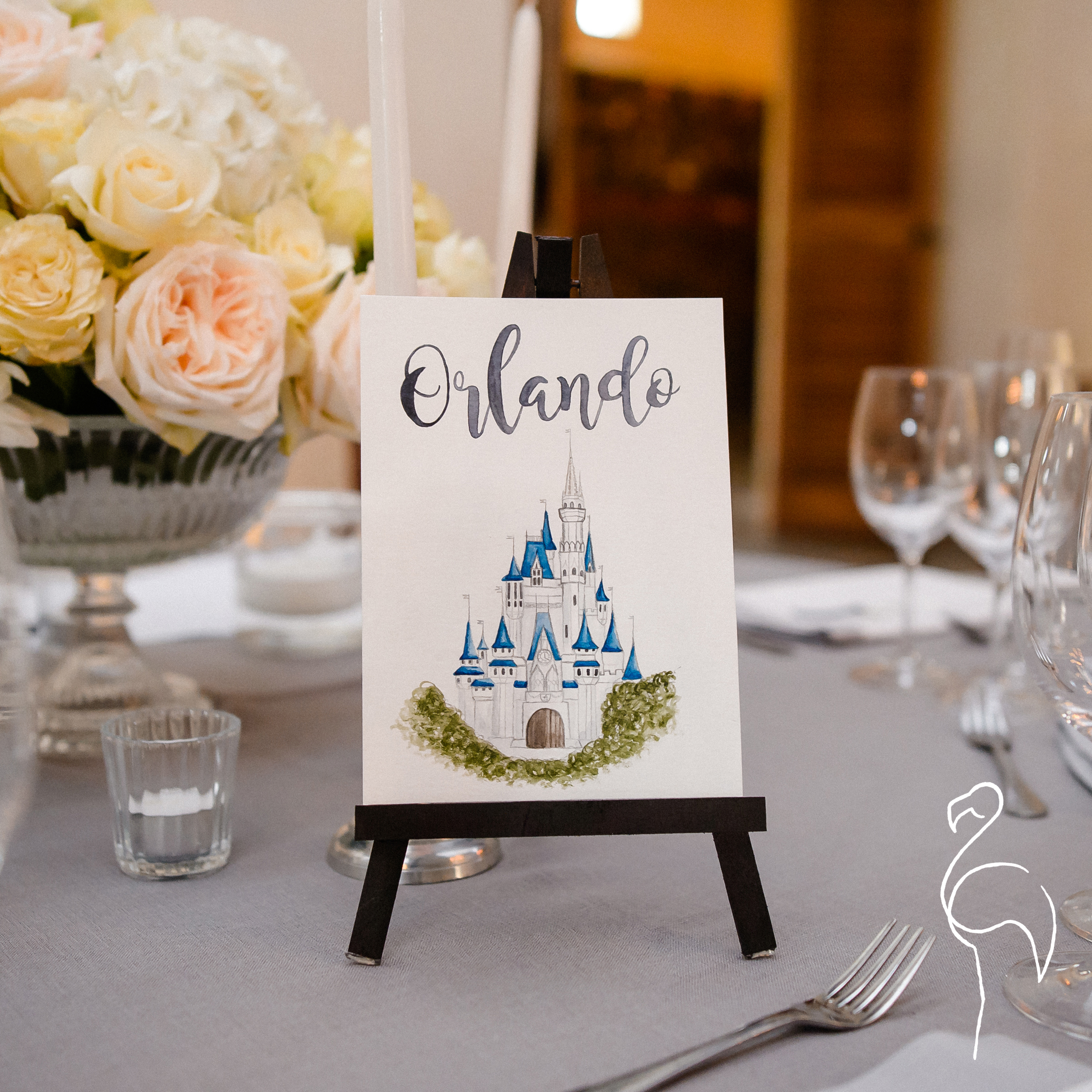 Brazzlebird - Classic Collection Watercolor Orlando Disney Castle Table Sign.jpg